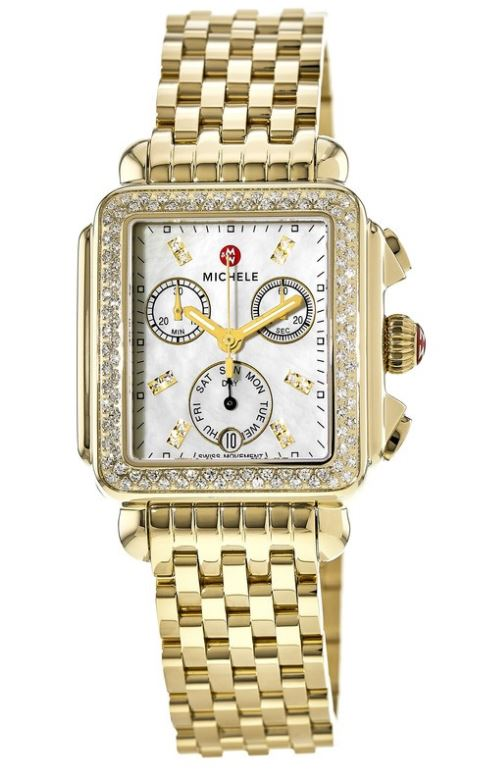Michele Deco Day Gold-Tone Diamond Ladies Watch MWW06P000100
