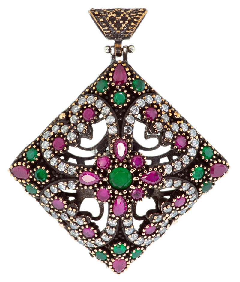 925 Sterling Silver Diamond Shaped Otantik Vintage Ruby And Emerald Cubic Zirconia Pendant - OT12