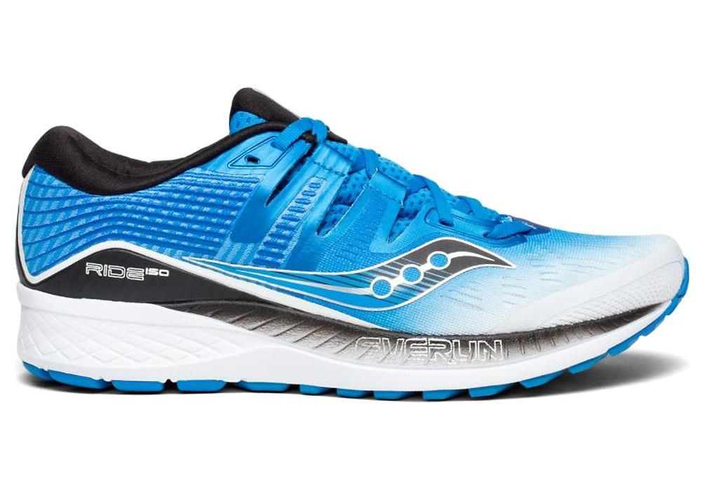 Saucony Mens Ride ISO Neutral Running Shoe Sneakers - White/Black/Blue - Size 10