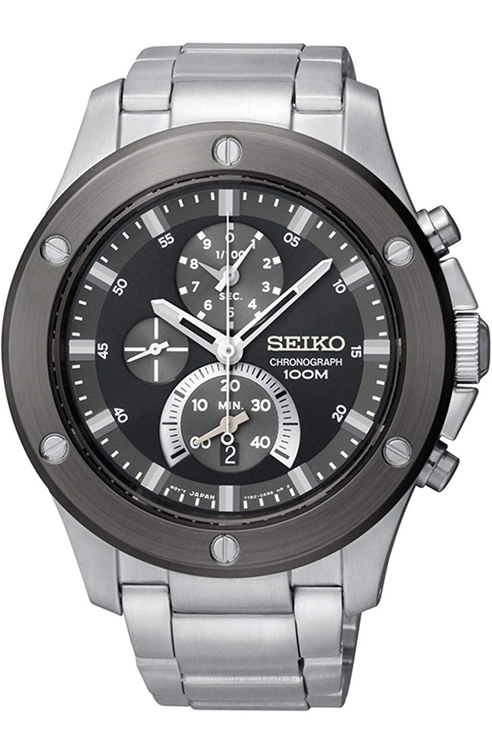 Seiko Chronograph Stainless Steel Case Mens Watch SPC097P1