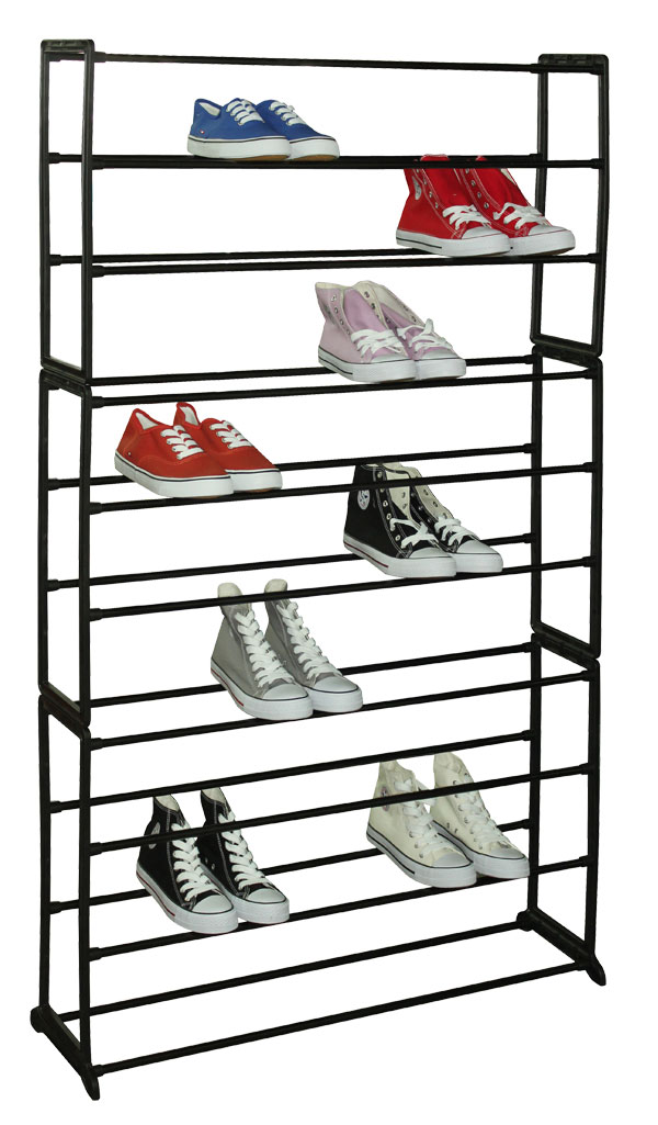 50 Pair Metal and Plastic Shoe Rack - Black
