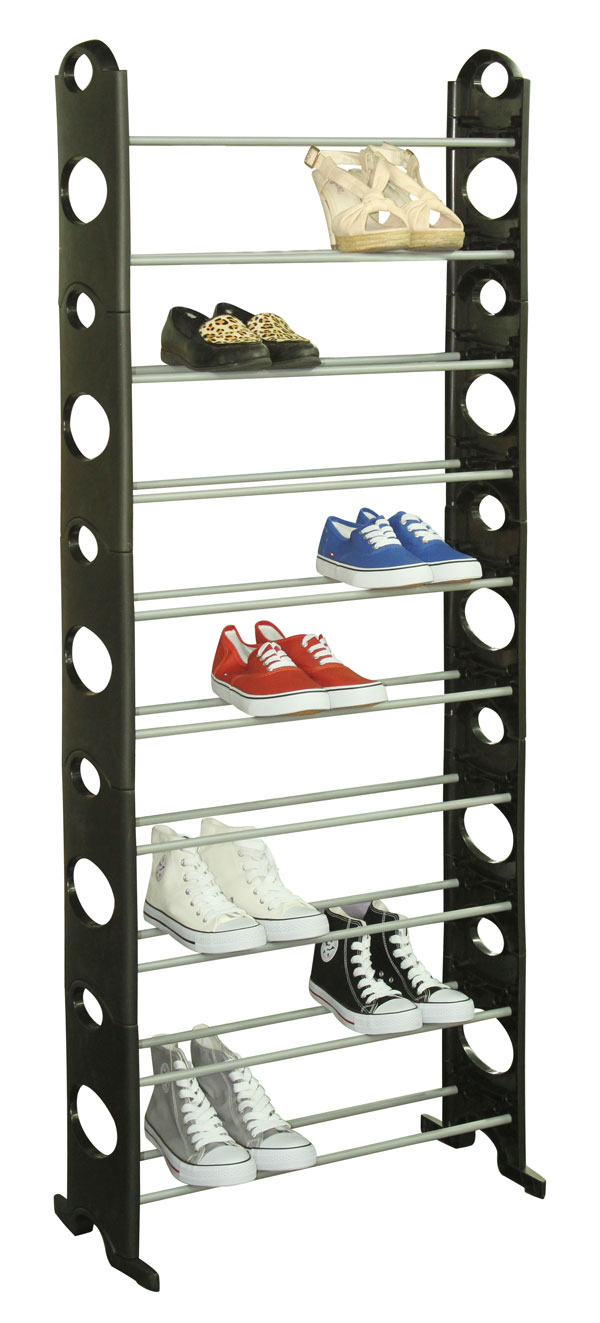 30 Pair Metal and Plastic Shoe Rack - Black