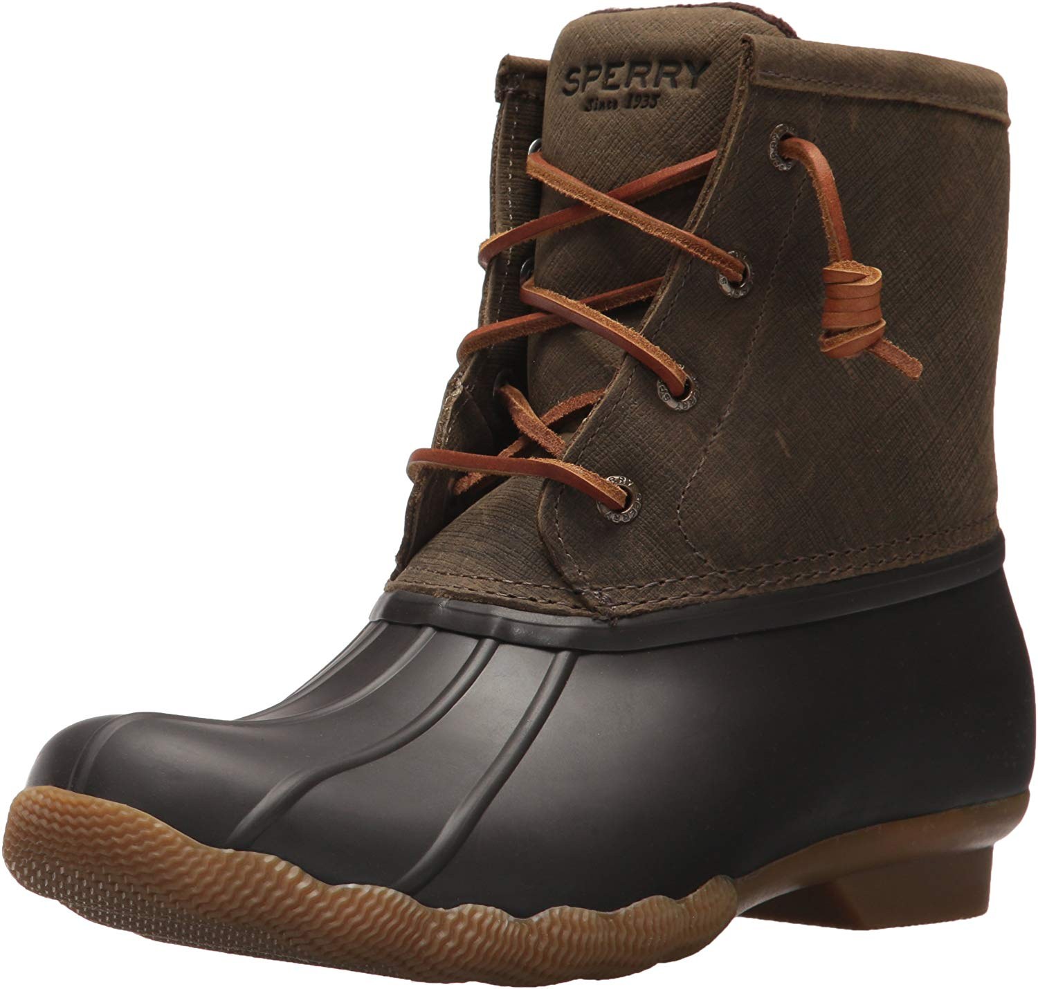 Sperry Womens Saltwater Boots - Brown/Olive - 11