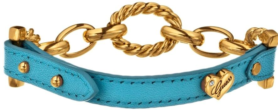 GUESS Blue Leather Chain-Link Bracelet UBB21328
