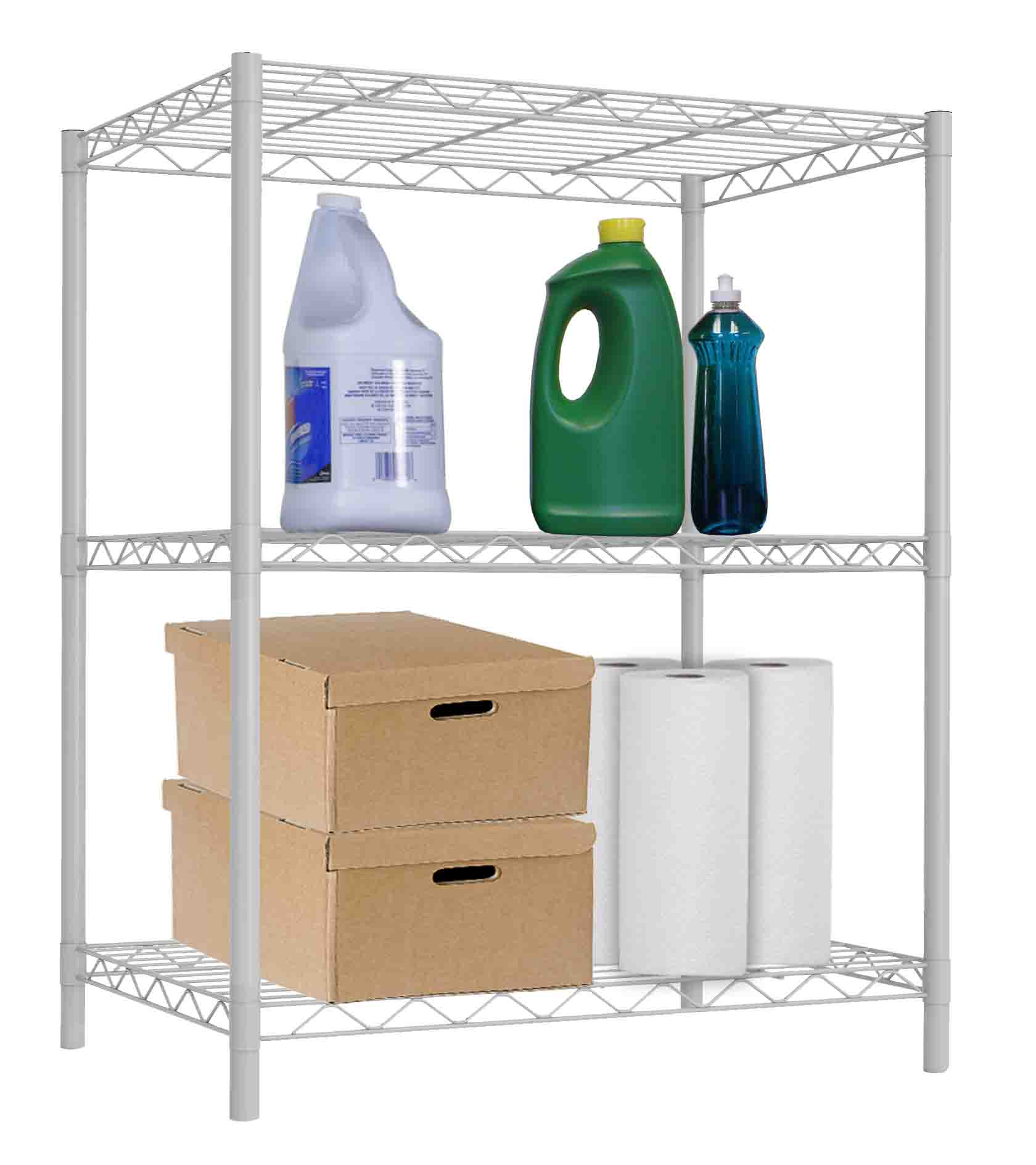 3 Tier Commercial Grade Steel Multi-Purpose Adjustable Wire Shelving Unit - White