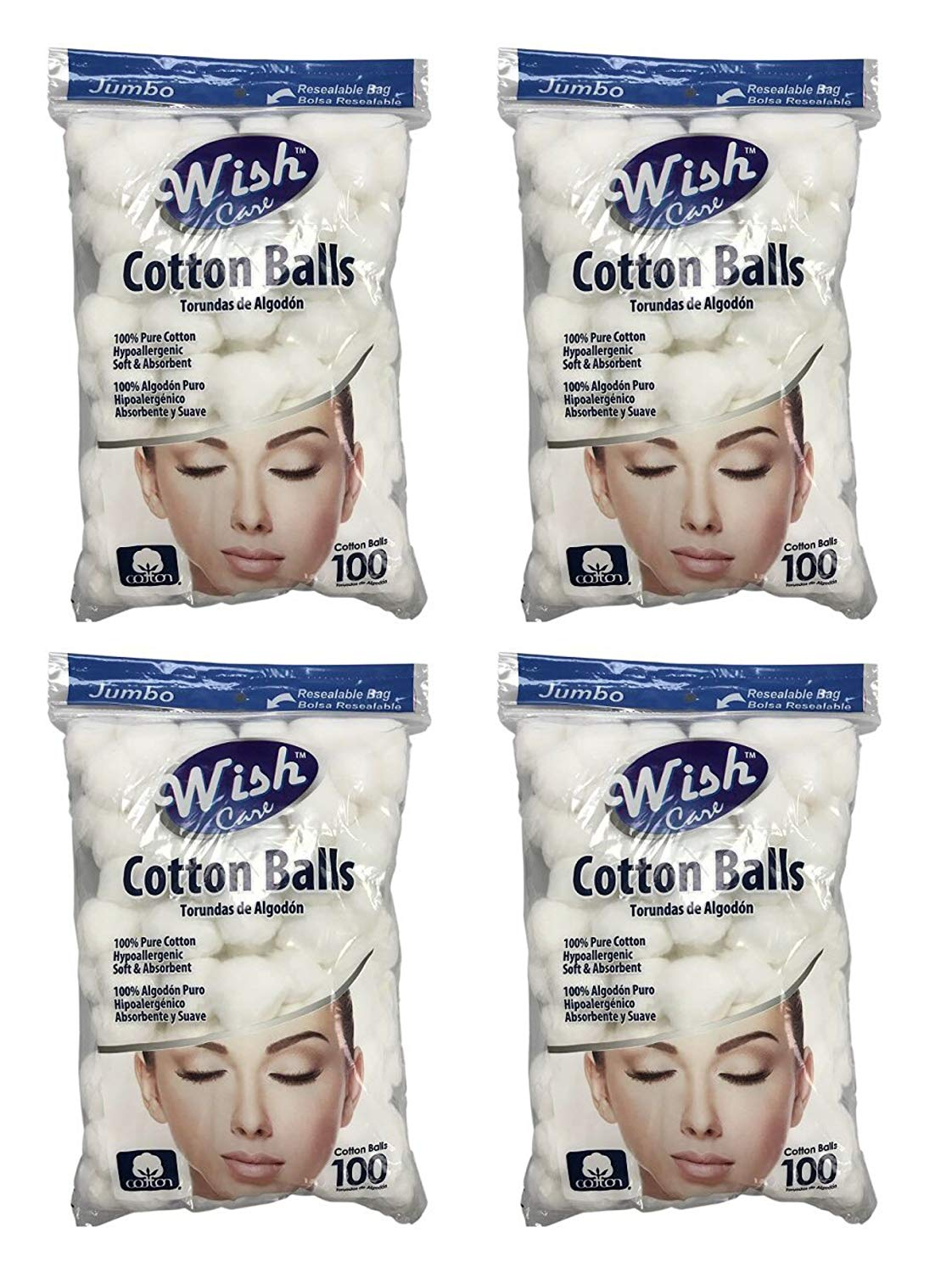 Wish Jumbo Hypoallergenic Soft & Absorbent Cotton Balls - 100% Pure Cotton - Pack of 4 (400 Total)